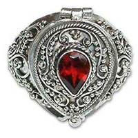 Secret Love Teardrop Faceted Red Garnet set in 925 Sterling Silver Ornate Antique Look Womens Locket Ring (Indonesia)