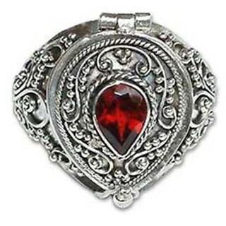 Secret Love Teardrop Faceted Red Garnet set in 925 Sterling Silver Ornate Antique Look Womens Locket Ring (Indonesia)