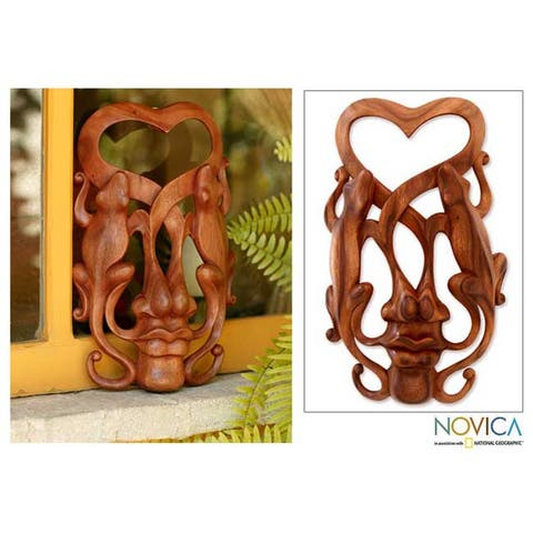 Wood 'Song of Love' Mask - Brown/Beige