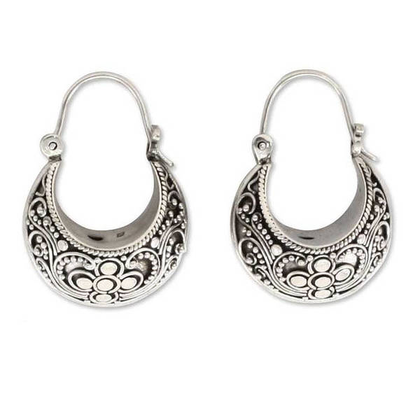 overstock earrings shop handmade sterling silver paradise hoop earrings 3162