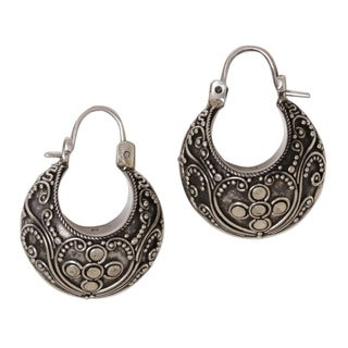 Sterling Silver 'Paradise' Hoop Earrings (Indonesia)