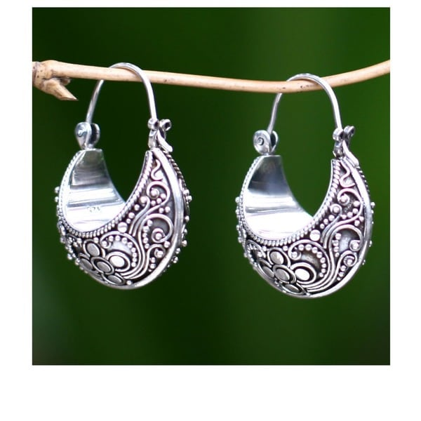 Handmade Sterling Silver 'Paradise' Hoop Earrings (Indonesia)