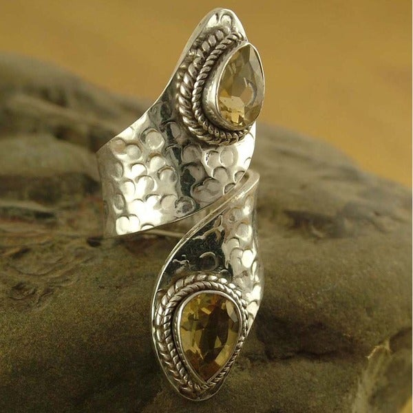 Golden Yellow Faceted Pear Citrine Gemstones Rope Bezel Set in Hammered 925 Sterling Silver Large Womens Wrap Ring (India)