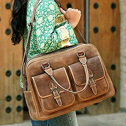 'World Traveler' Leather Travel Bag (Mexico)