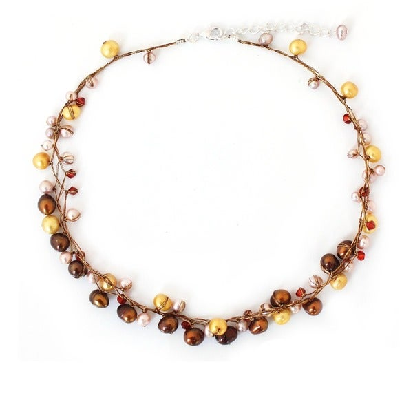 Handmade River Of Gold Multicolor Freshwater Pearl Strand Necklace (Thailand)