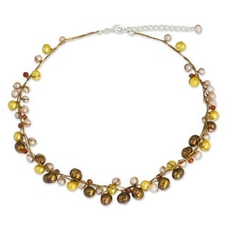 Handcrafted River Of Gold Multicolor Freshwater Pearl Strand Necklace (Thailand)