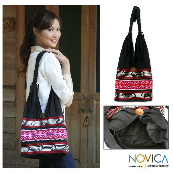 'Hill Tribe Exuberance' Cotton Shoulder Bag (Thailand)