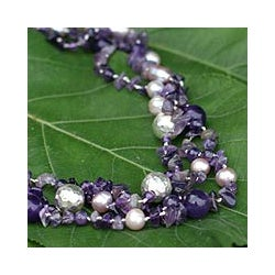 Glorious Three Strand Purple Amethysts White Pearls and Hammered 925 Sterling Silver Beads Womens Collar Necklace (Thailand)