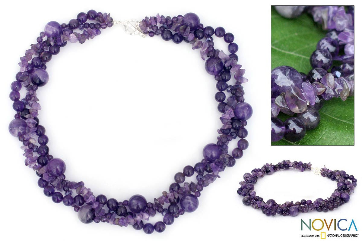 Sterling Silver Amethyst 'Glorious' Torsade Necklace (Thailand) - Thumbnail 0