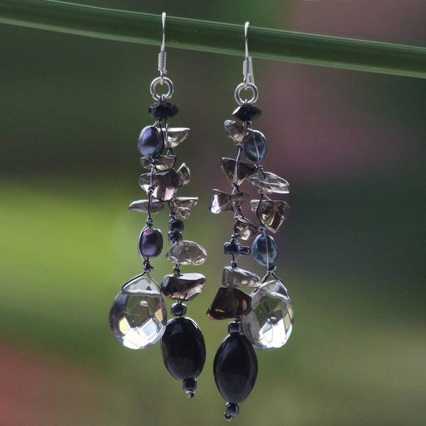 Handmade Silver Nocturnal Symphony Black Pearl Waterfall Chandelier Earrings (5 mm) (Thailand)
