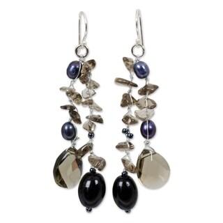 Handmade Silver Nocturnal Symphony Black Pearl Waterfall Chandelier Earrings (5 mm) (Thailand)