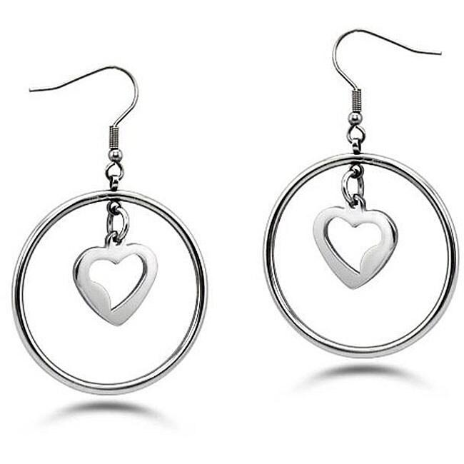 Oliveti Stainless Steel Dangling Hearts Hoop Earrings