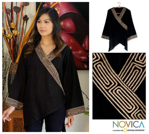 Handmade Cotton 'China Paths In Black' Blouse (Thailand)