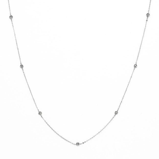 14k White Gold 1/10ct TDW Diamond By-the-yard Necklace (H-I, I1-I2)