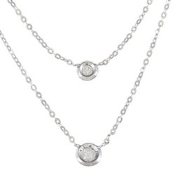 14k White Gold 1/10ct TDW Bezel-set Diamond Necklace (H-I, I1)