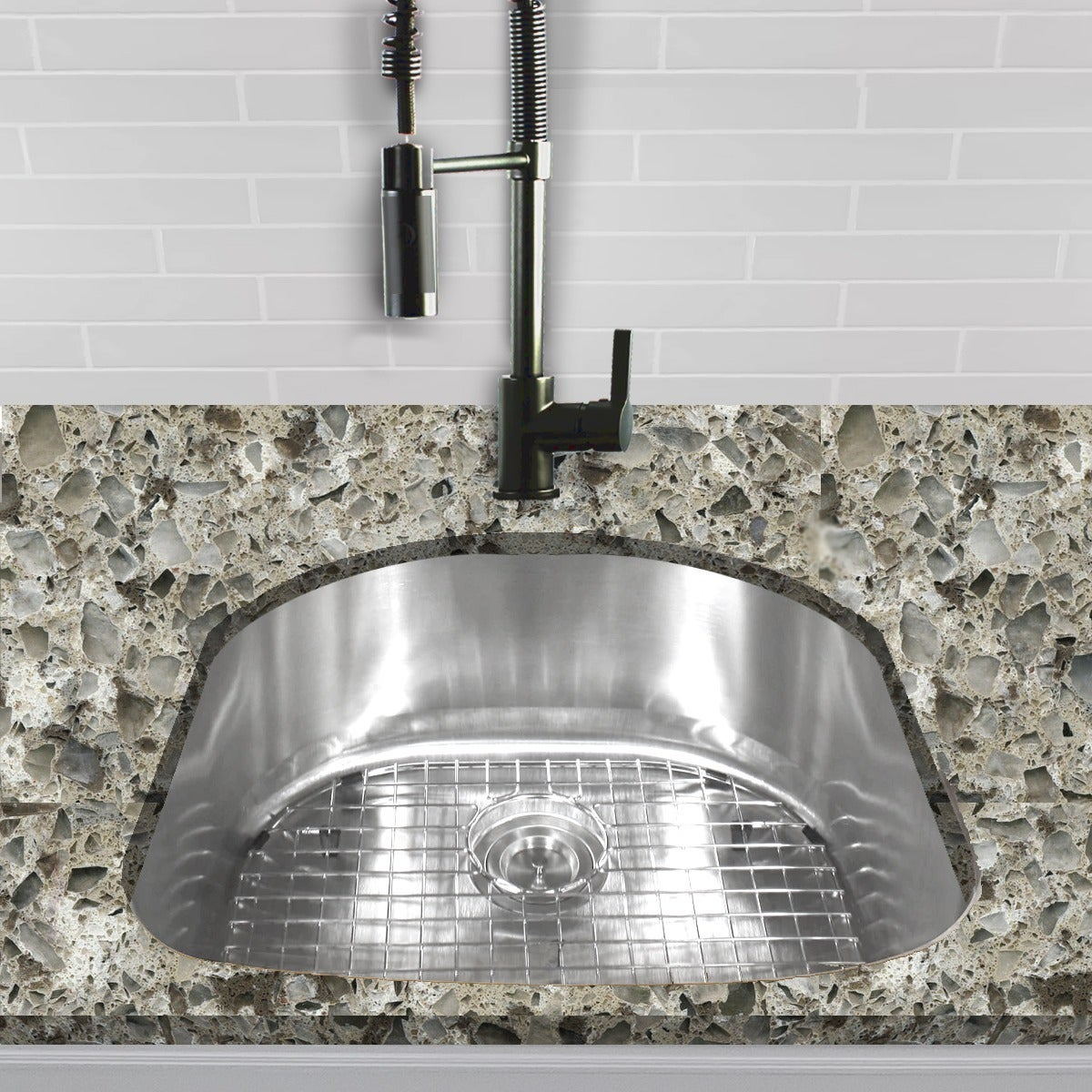 Single D-shape Bowl Premium 16-gauge Kitchen Sink with Gr...