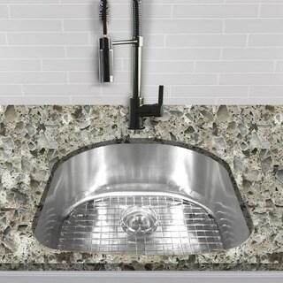 Single D-shape Bowl Premium 16-gauge Kitchen Sink with Grid and Drain