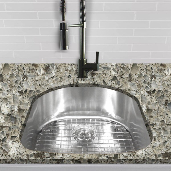 single d shape bowl premium 16 gauge kitchen sink with grid and drain single d shape bowl premium 16 gauge kitchen sink with grid and      rh   overstock com