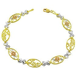 Fremada 10k Gold Tri-color 'Love' Bracelet