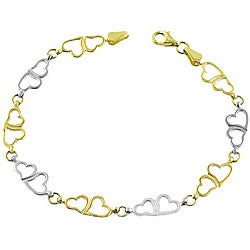 Fremada 14k Two-tone Gold Double Heart Link Bracelet