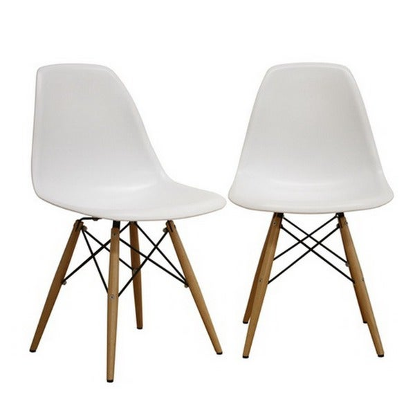 Mid Century White Plastic 2 Piece Dining Chair Set By Baxton Studio   Free  Shipping Today   Overstock.com   12386393