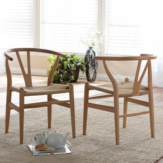 Carson Carrington Akaa Brown Wood Dining Chair with Hemp Seat