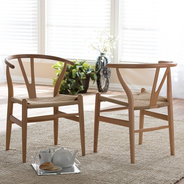 Baxton Studio Wishbone Modern Brown Wood Dining Chair with Light Brown Hemp Seat