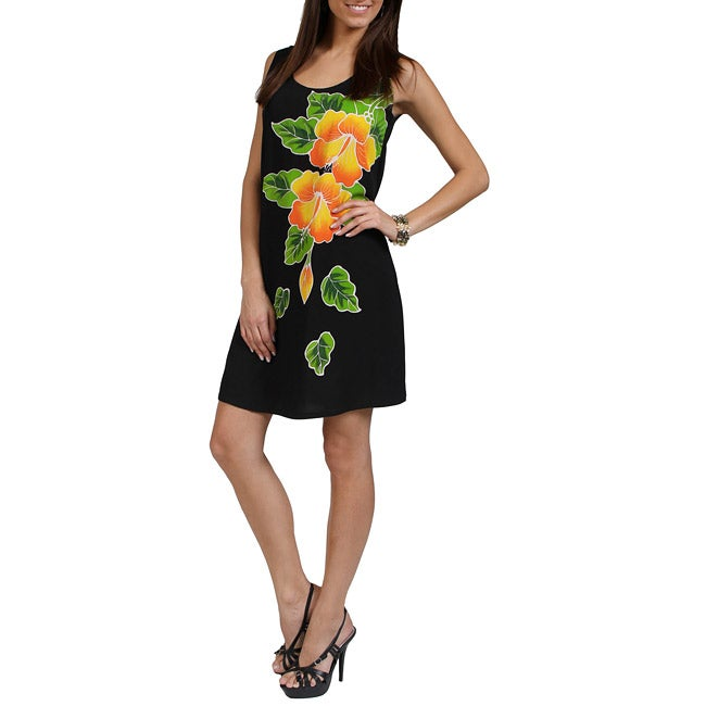 Hand-painted Gold Hibiscus Black Sundress (Indonesia)