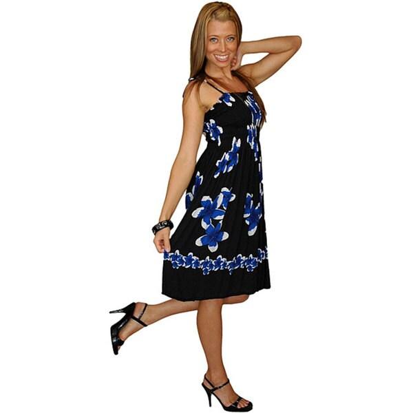 Black/ Blue Plumeria Sundress/ Tube Dress (Indonesia)