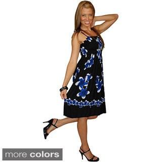 1 World Sarongs Women's Black/ Blue Plumeria Sundress/ Tube Dress (Indonesia)