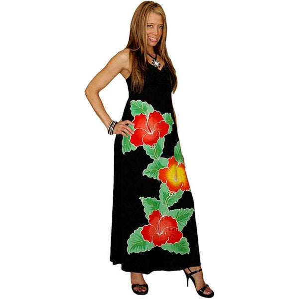 Hand-painted Hibiscus-print Long Black Dress (Indonesia)