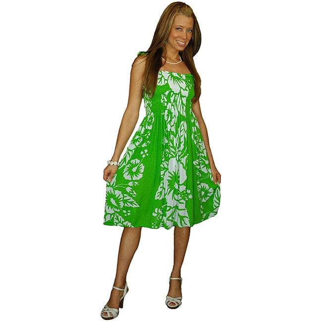 1 World Sarongs Women's Hibiscus Design Green / White Tube Dress (Indonesia)