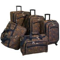 American Flyer Budapest Metallic Blue 5-piece Spinner Luggage Set