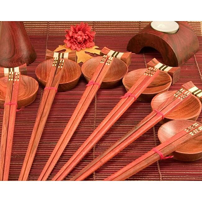 18-piece Inlaid Wood Square Design Chopsticks Set