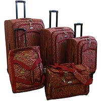 American Flyer Budapest Metallic Red 5-piece Spinner Luggage Set