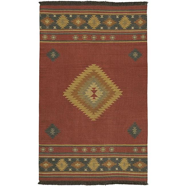 Native American Rugs In Santa Fe: Hand-woven Burgundy Southwestern Aztec Santa Fe Wool Rug