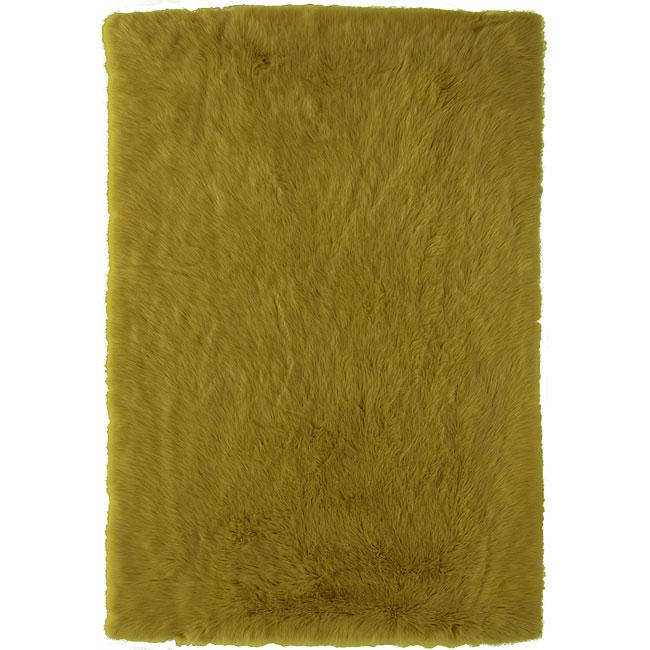 Meticulously Woven Himalaya Green/Gold Shag. Rug (5' x 8')