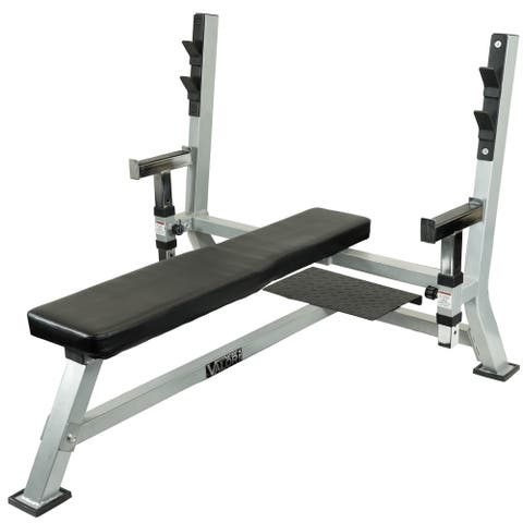 Valor Fitness BF-48 Olympic Weight Bench Station with Adjustable Safety Catches and Spotter Stand - Black