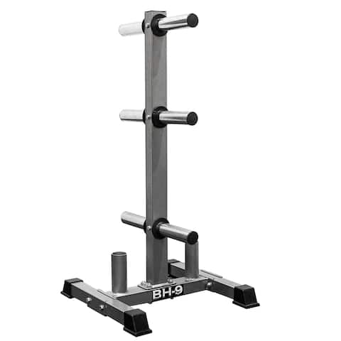 Valor Fitness BH-9 Olympic Plate Storage Tree with Olympic Bar Storage for a Clean, Organized Gym