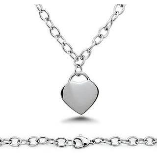 Oliveti Stainless Steel Heart Charm Necklace|https://ak1.ostkcdn.com/images/products/4431897/P12388152.jpg?impolicy=medium