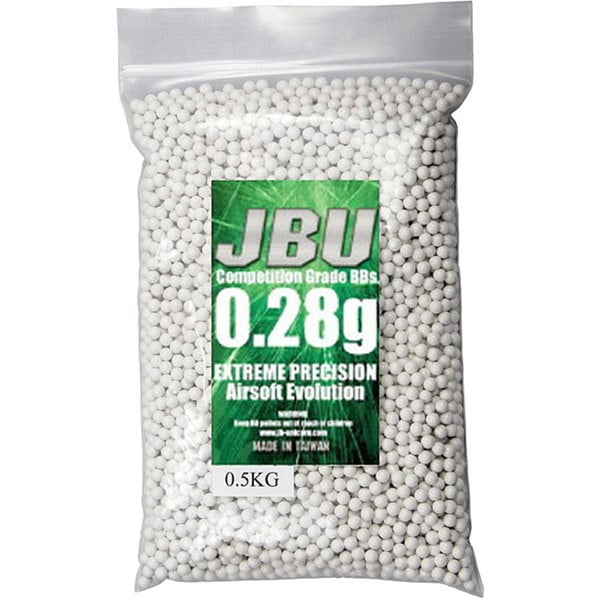 JBU BBJ28XHK 0.28g 6 mm Plastic White Airsoft BBs (0.5 kg)