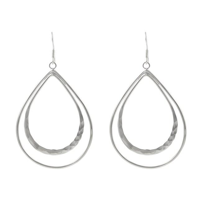 Journee Sterling Silver Double Drop Hoop Earrings