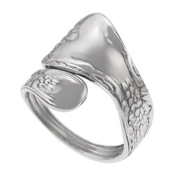 Journee Sterling Silver Etched Wrap Spoon Ring