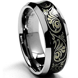 Men's Tungsten Carbide Black-plated Laser-etched Florentine Band (8 mm)