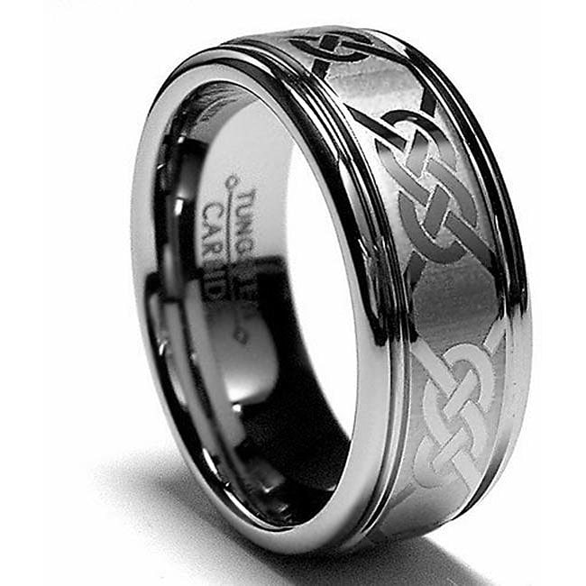 Men's Tungsten Carbide Laser-etched Celtic Grooved Band (8 mm) - Thumbnail 0