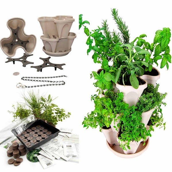 Culinary Herb Garden Starter Kit Mini Stacker Self Watering Planter