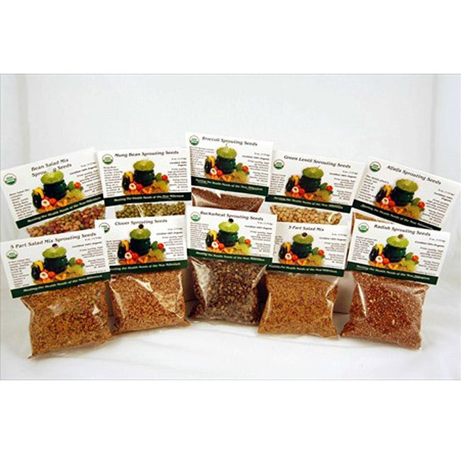 Living Whole Foods Organic Sprouting Seed Super Sampler, ...