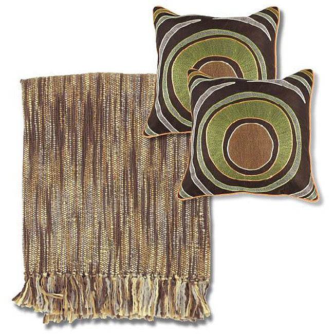 Brown Grey Throw Blanket And Decorative Pillow Set