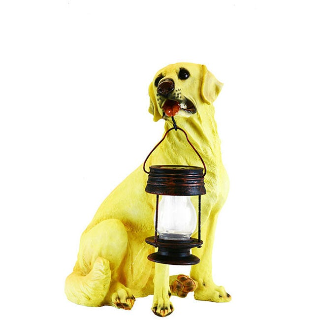 LED Solar Light Yellow Labrador Dog Lantern