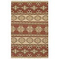 Hand-woven Red/Tan Southwestern Aztec Laredo Hard Twist Wool Rug (5' x 8')